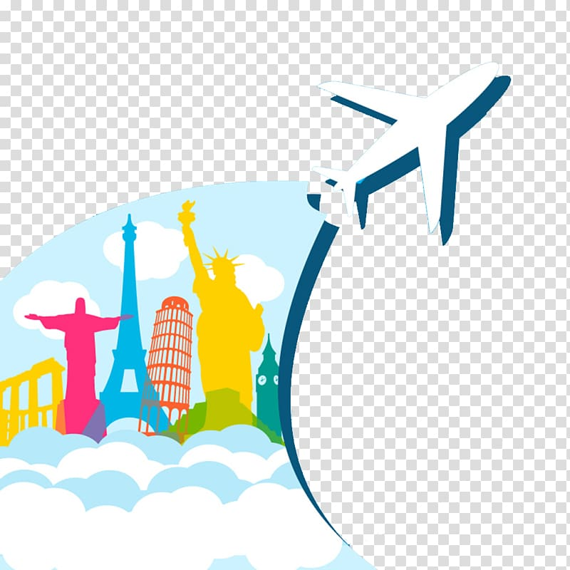 Airplane illustration, Air travel Airplane Flight, Creative.