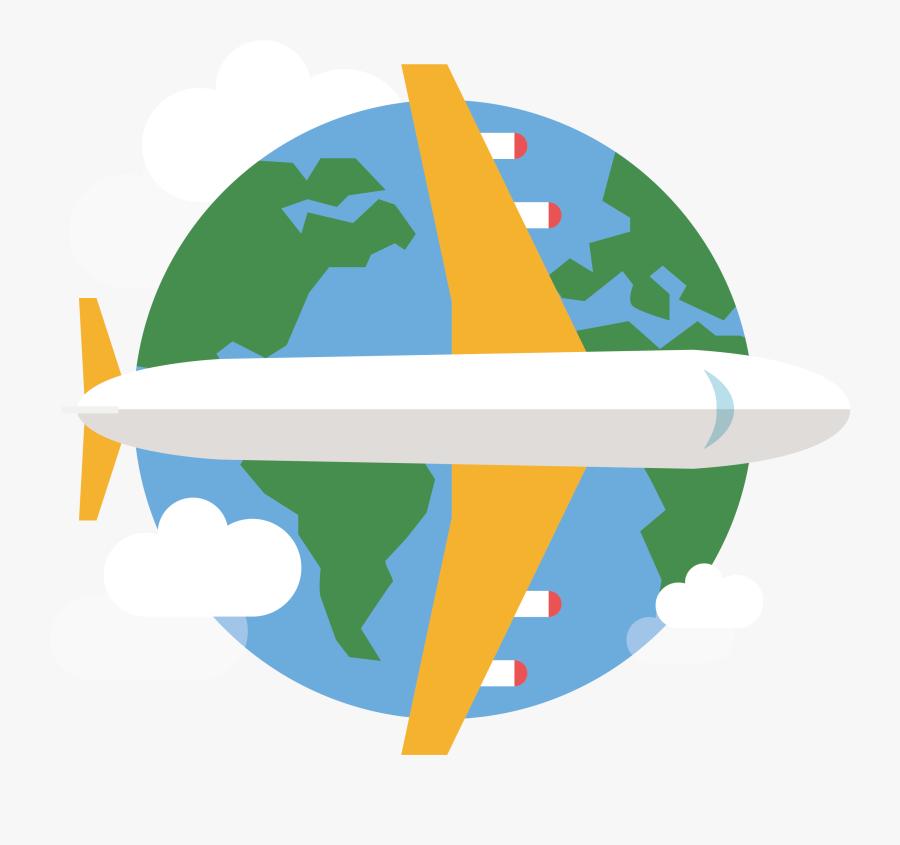 Clipart Globe Airplane.