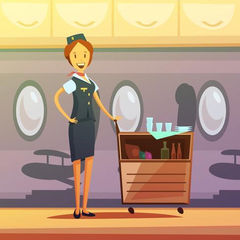 Stewardess Cartoon Illustration.