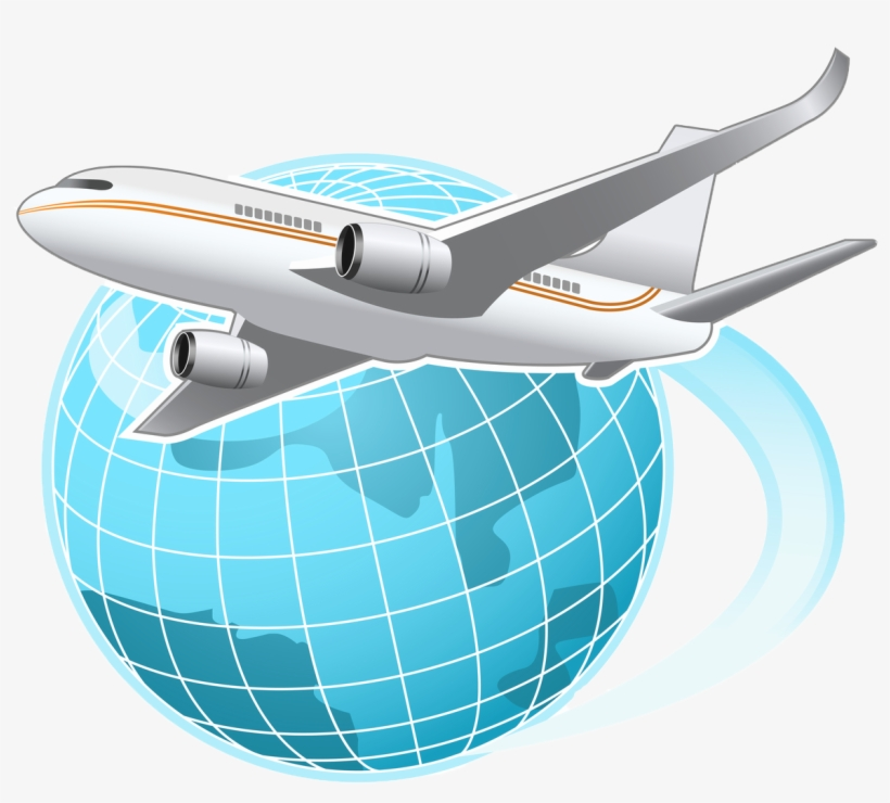 Vector Transparent Download Airplane Vacation Clipart.
