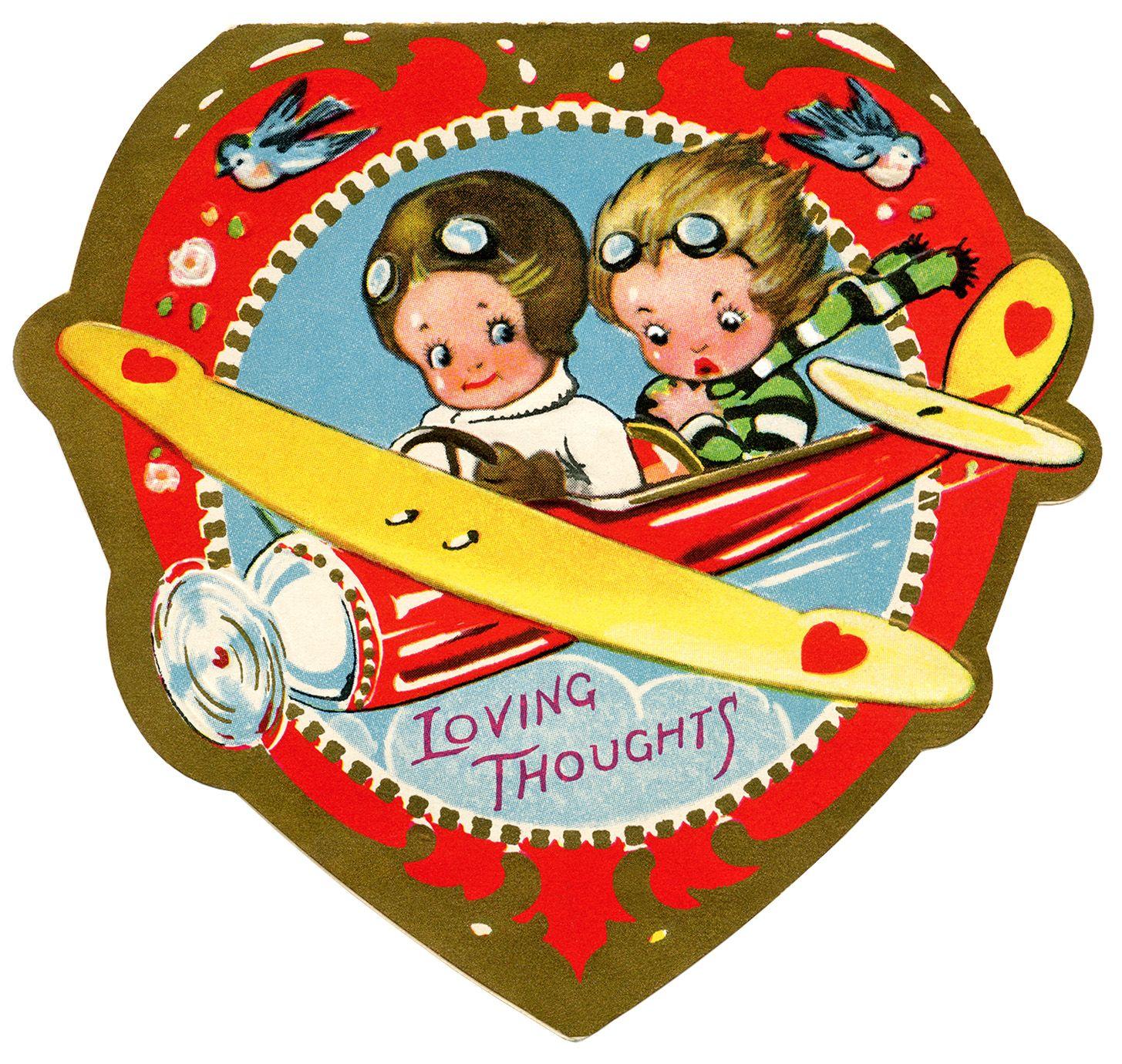 biplane valentine, vintage valentine clip art, airplane.