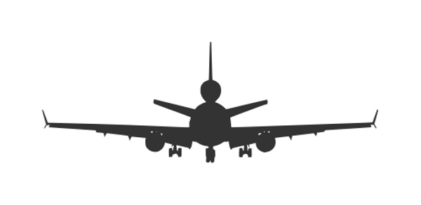 5 Airplane Front View Silhouette Vector (ESP, SVG).