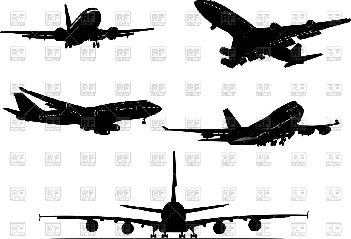 Aircraft silhouettes , differnt view Vector Image #57294.