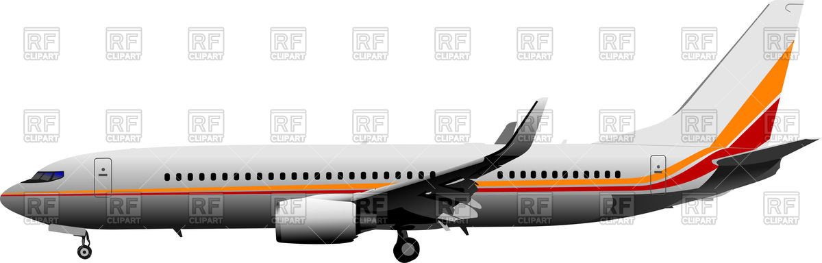 Airplane side view clipart.