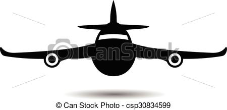 EPS Vectors of airplane symbol silhouette black icon front view.