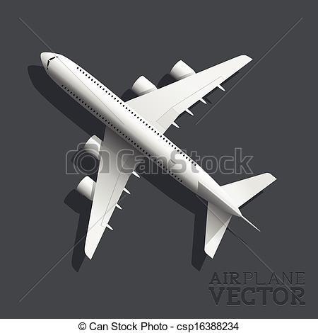 Vectors of Vector Airplane Top View.
