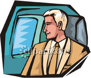 Man Looking Out of an Airplane Window Royalty Free Clipart Picture.
