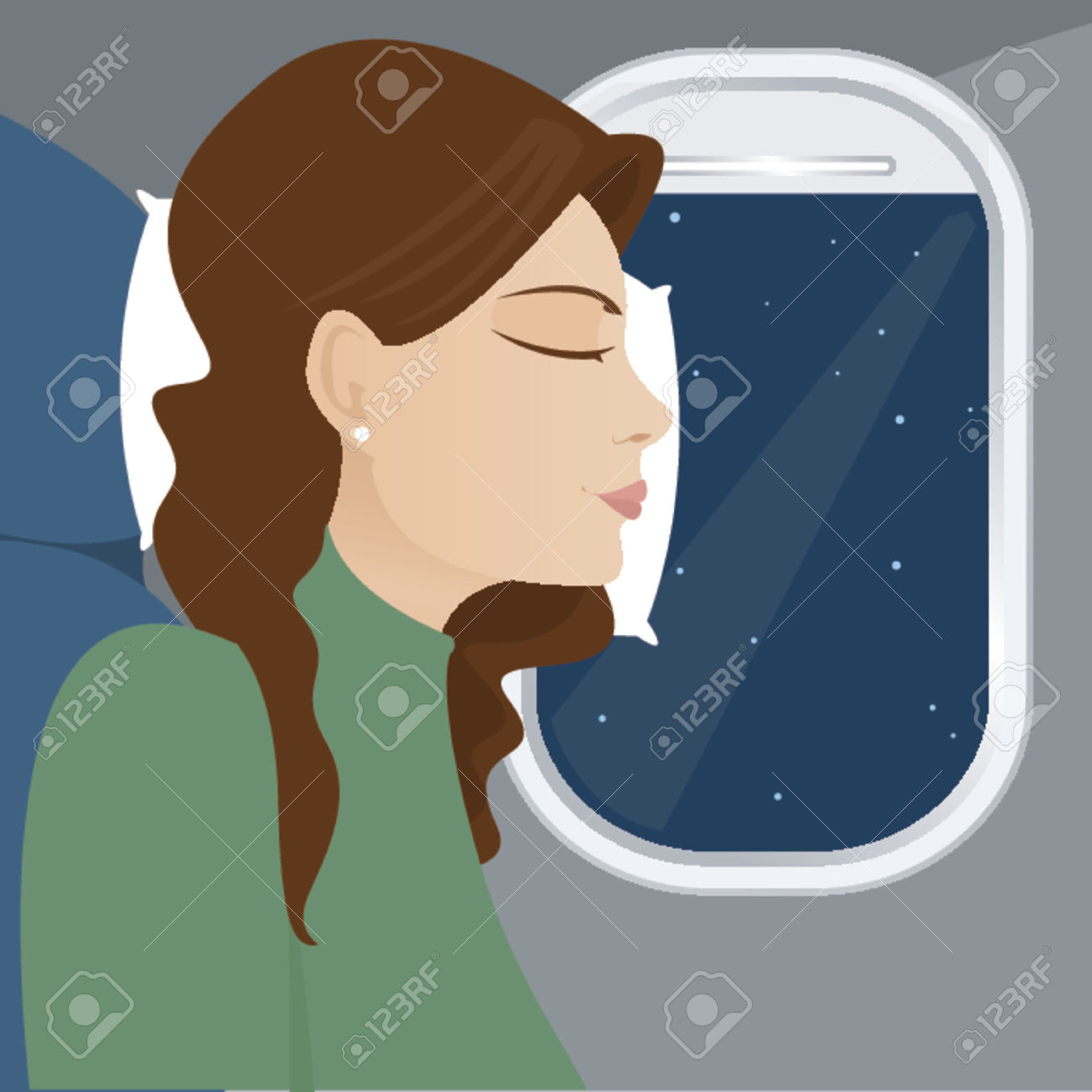 Woman Leans Against The Airplane Window, Sleeping During Flight.