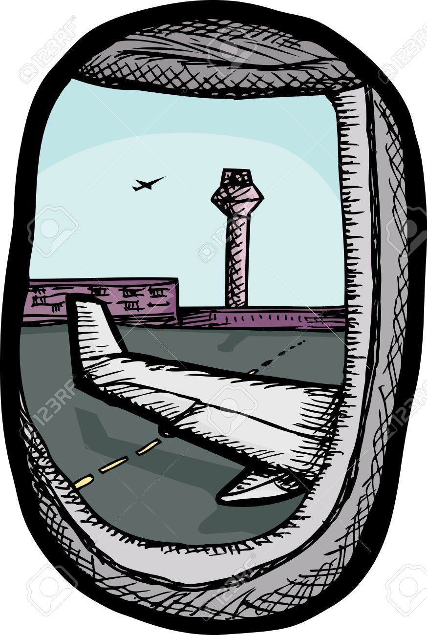 View Of Airport From Airplane Window Illustration Royalty Free.