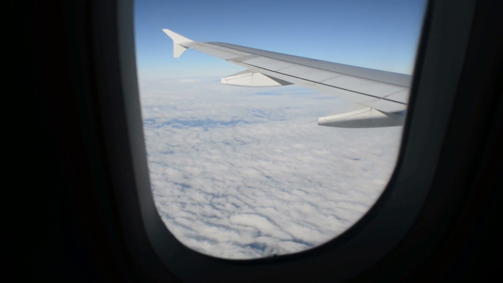 Aerial View from the Airplane Window Airplane Wing and Clouds Stock Video  Footage.