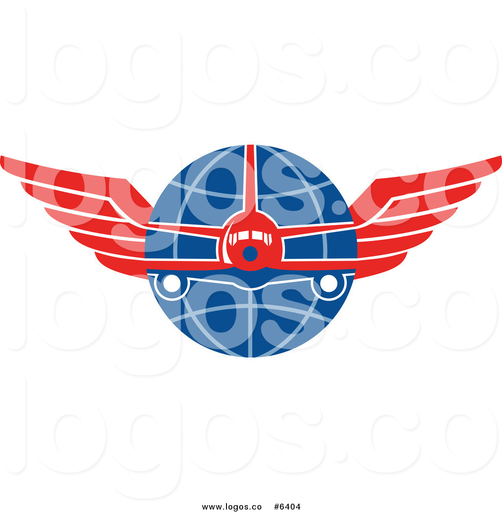 Royalty Free Clip Art Vector Logo of a Jumbo Jet Airplane over a.