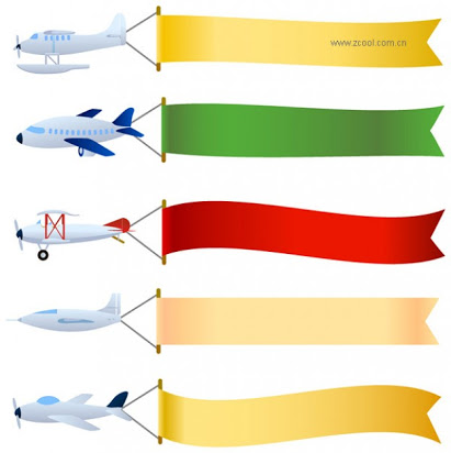 Airplane with banner clipart free.