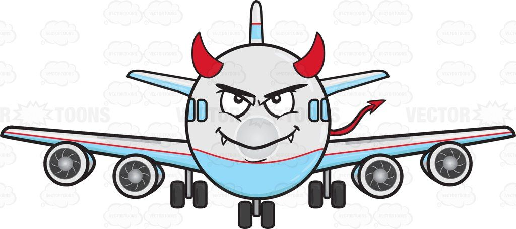 Jumbo Jet Plane Smiling With Fangs Horns And Tail Emoji.
