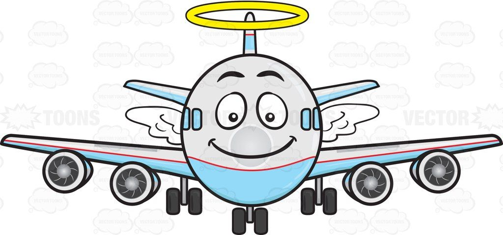 Smiling Jumbo Jet Plane With Halo And Wings Emoji #aeroplane.