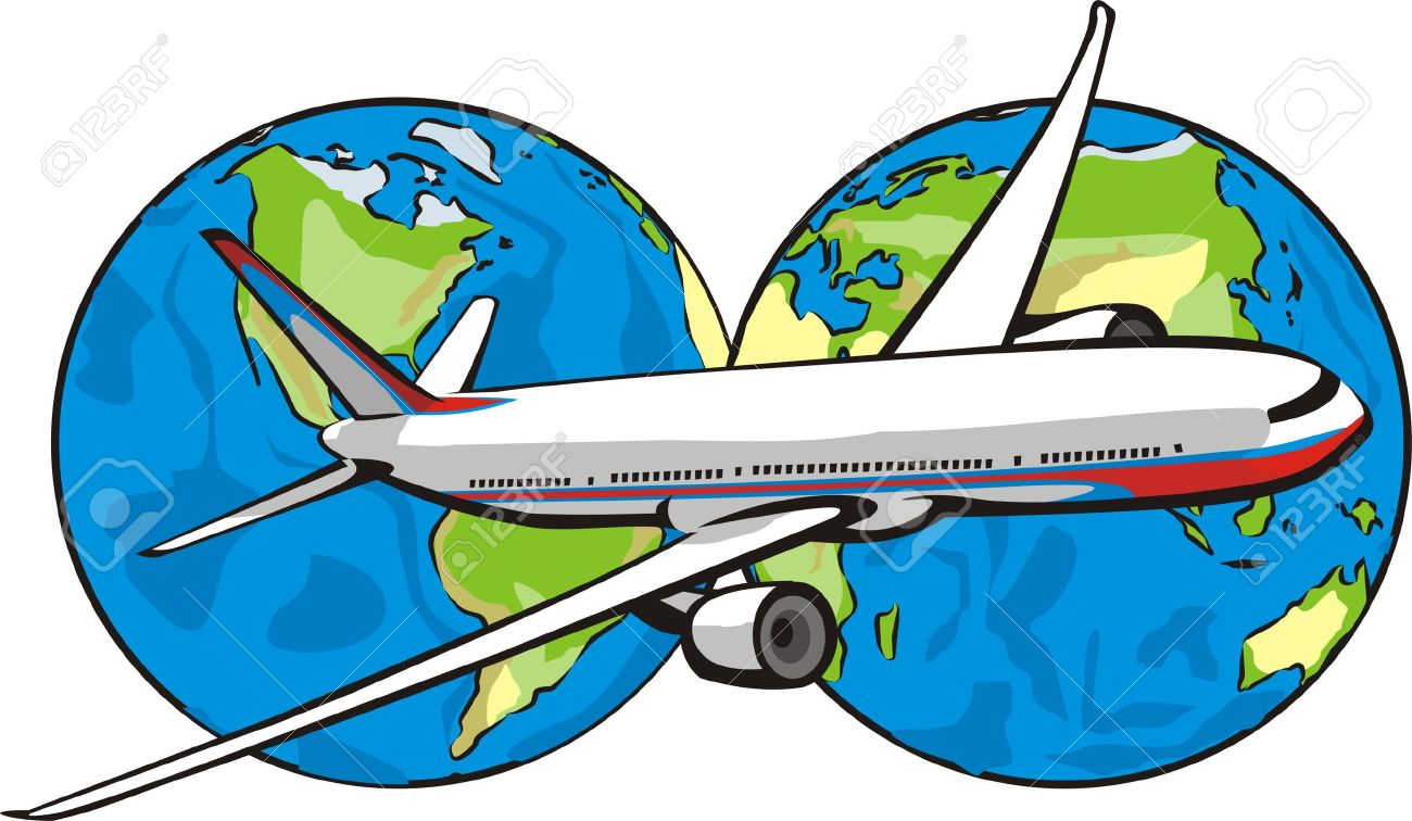 World With Airplane Clipart.