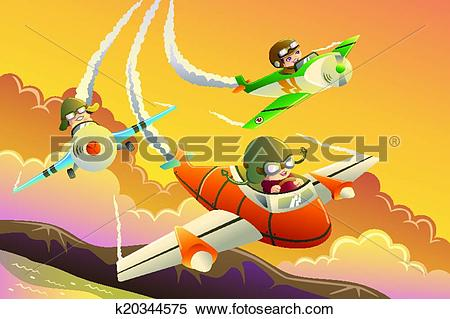 Clipart of Kids in an airplane race k20344575.