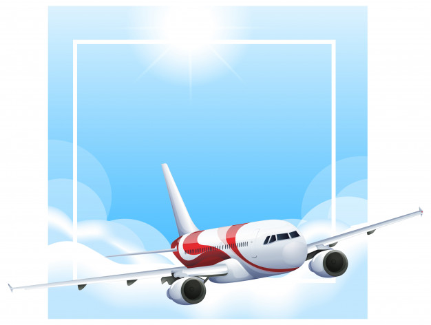 Border template with airplane flying in sky Vector.