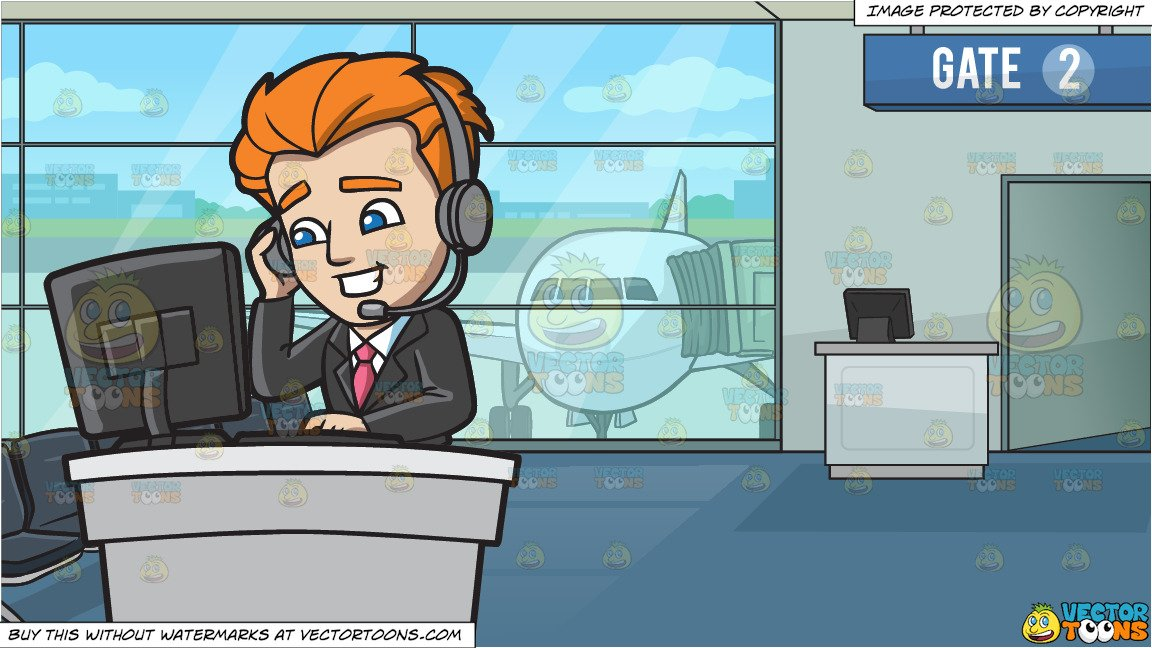 A Professional Call Center Agent and Airport Boarding Gate Background.
