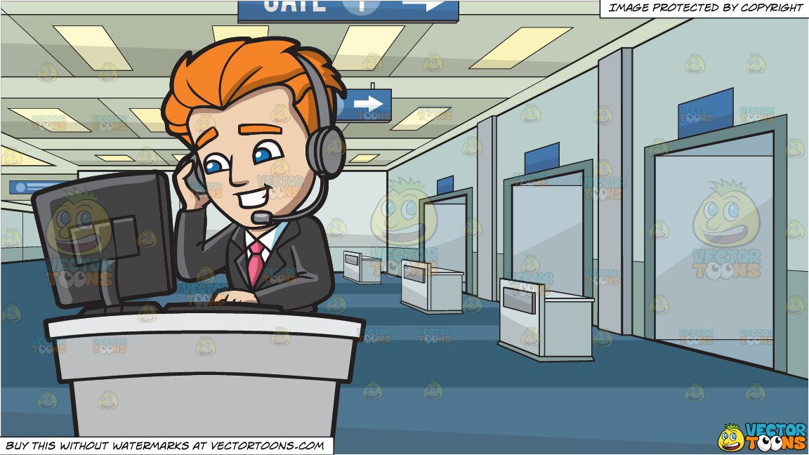 A Professional Call Center Agent and Airport Departure Gate Background.