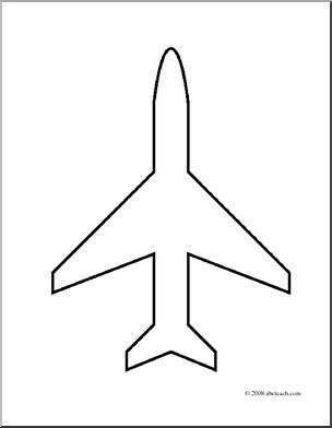 Clip Art: Transportation: Airplane Icon (coloring page) I.