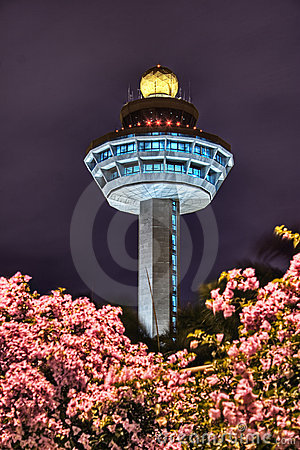 Singapore Changi Airport Control Tower At Night Royalty Free Stock.