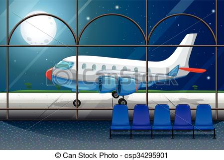 Vector Clipart of Airport scene with airplane parking at night.