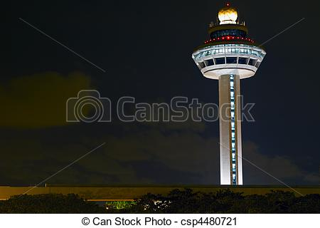 Stock Photography of Changi Airport Controller Tower at Night.