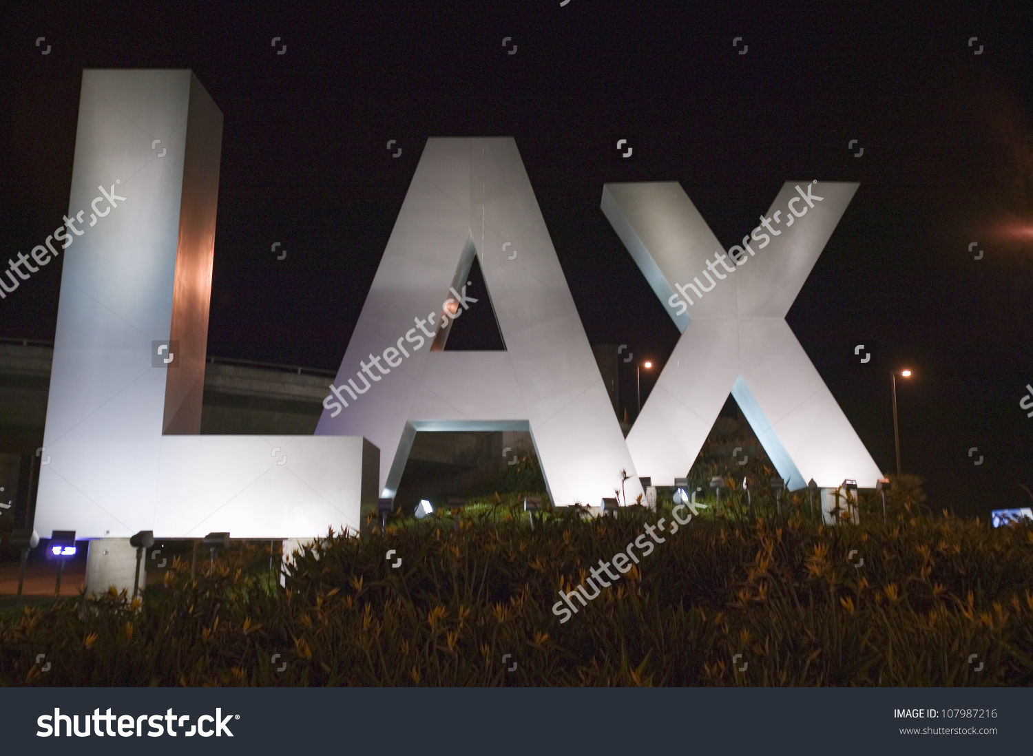 Lax Sign Night Welcoming Travelers Los Stock Photo 107987216.