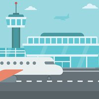 Background of Airport With Airplane Stock Vector.