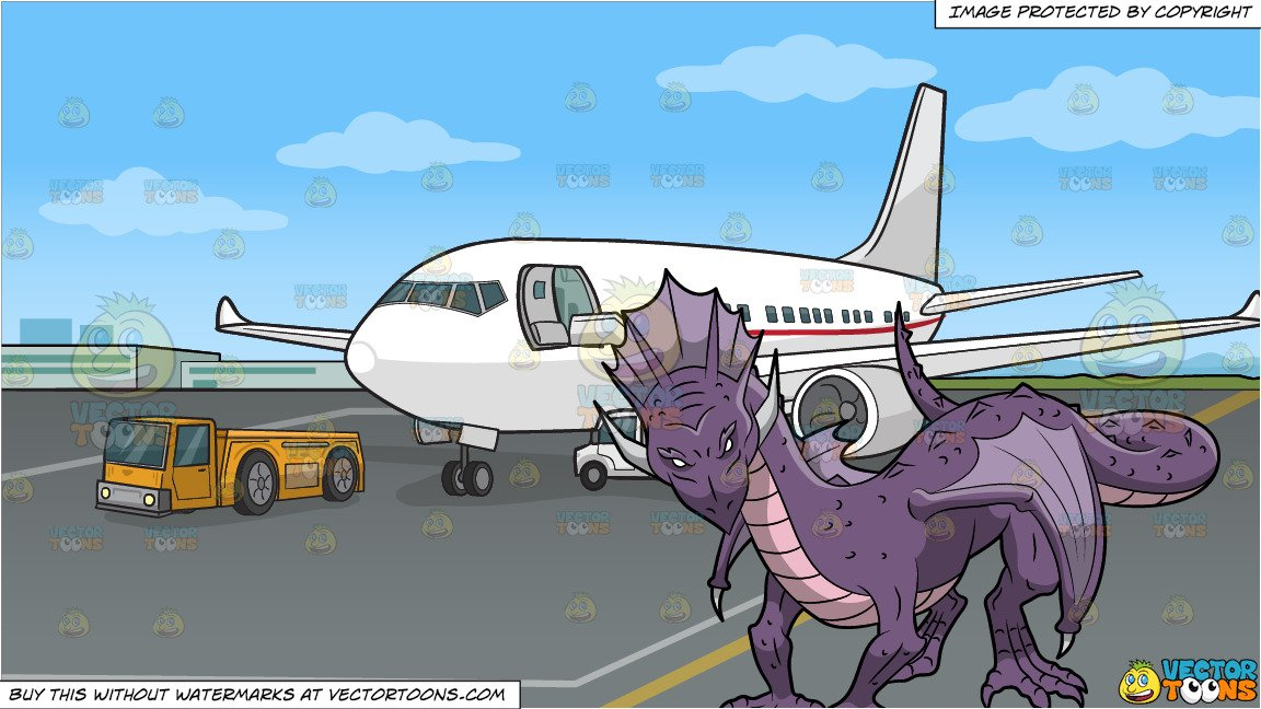 A Purple Dragon and An Airport Tarmac Background.
