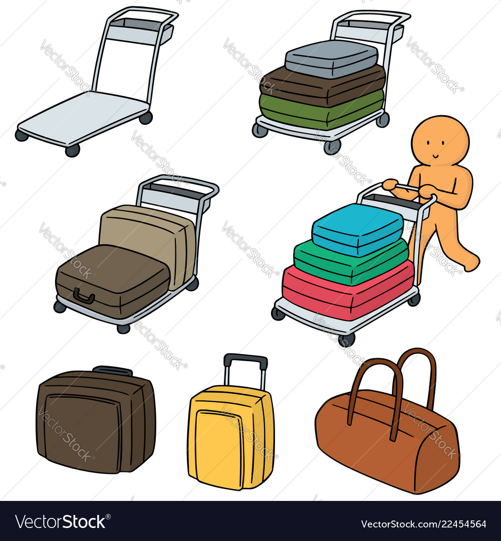 Set of airport luggage cart.
