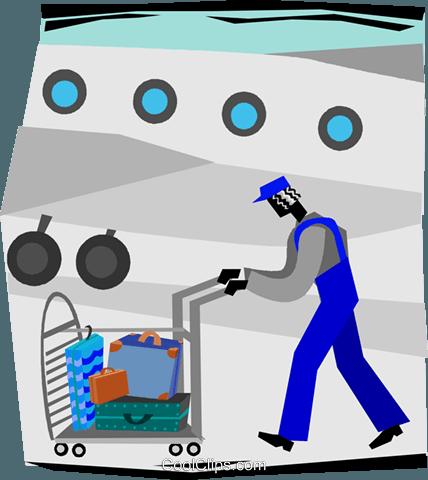 airport baggage handler Royalty Free Vector Clip Art.