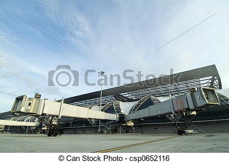 Stock Image of Split Airport Jetway Bridges.