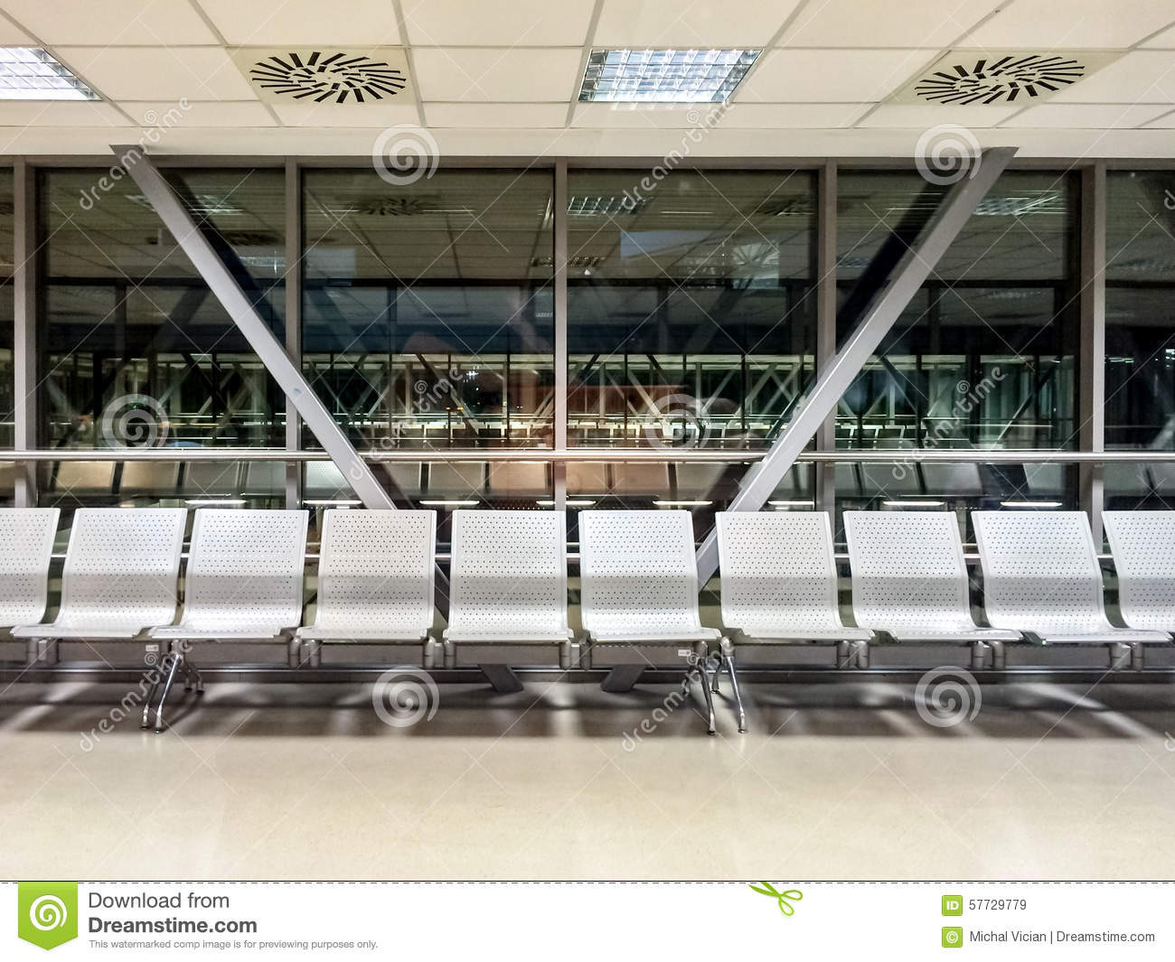 Airport Waiting Area Stock Photo.