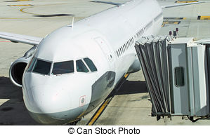 Stock Photo of Jet bridge from an airport terminal gate.