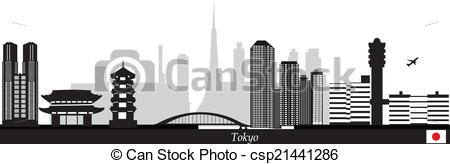 Vector of tokyo japan skyline with airport with temple and bridge.