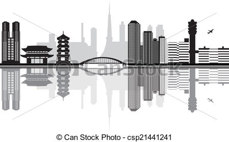 EPS Vector of tokyo japan skyline with airport with temple and.
