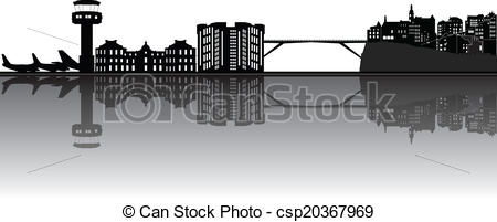 Clip Art Vector of luxembourg skyline with airport and bridge in.