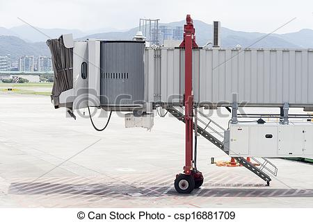 Stock Photography of Airport Jet Bridge close up without flight.