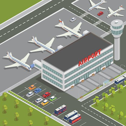 Isometric Airport Building. Airport Terminal with Planes.
