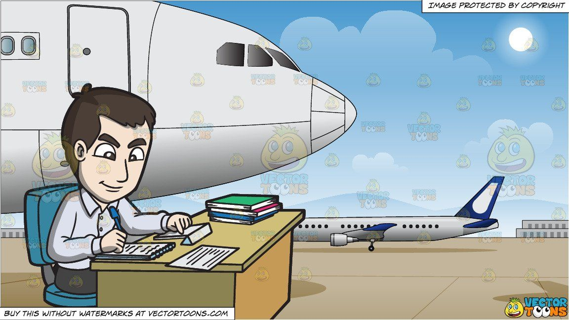 clipart #cartoon A Male Office Worker Taking Notes and.