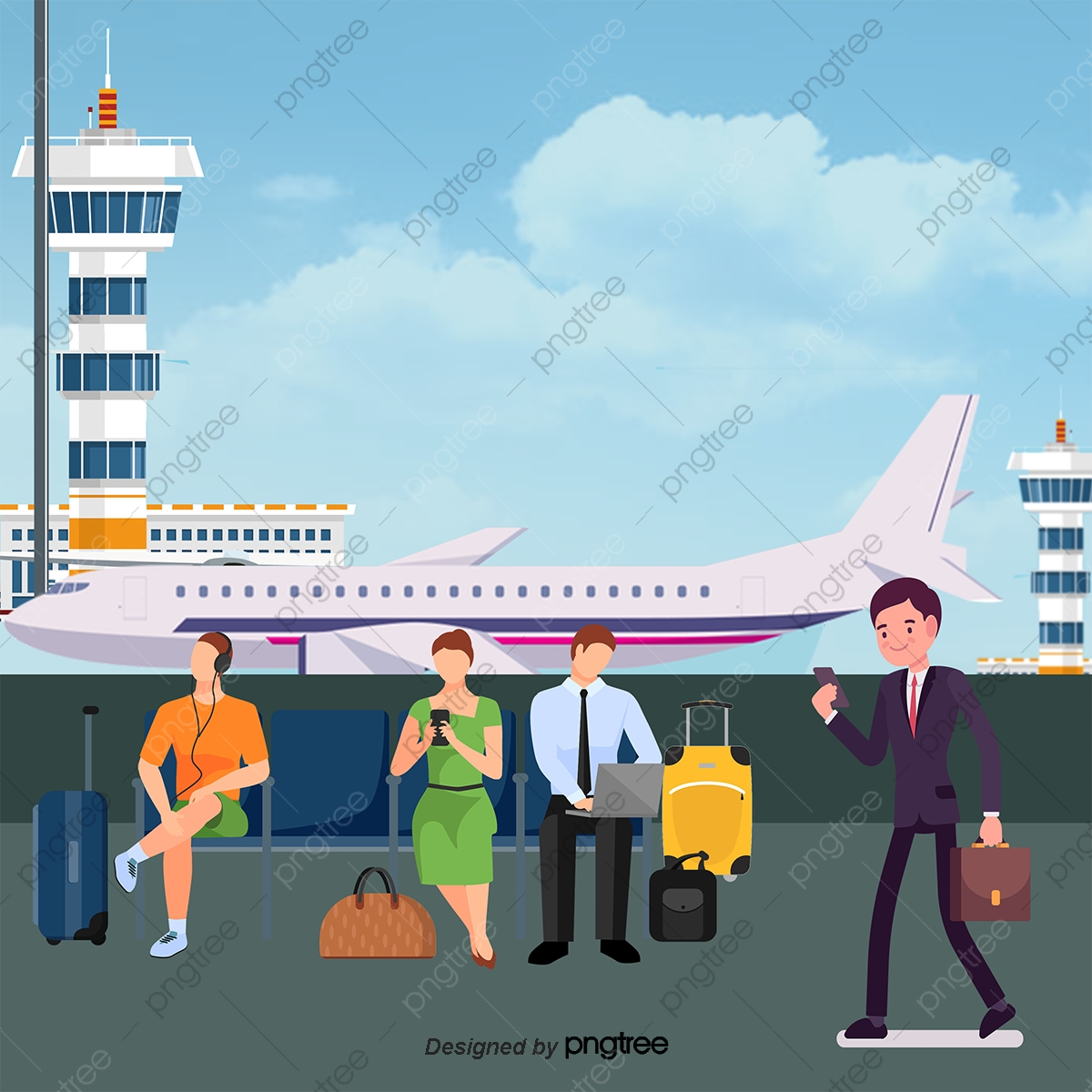 Vector Aircraft And Airport Control Tower, Airport Clipart, Airport.