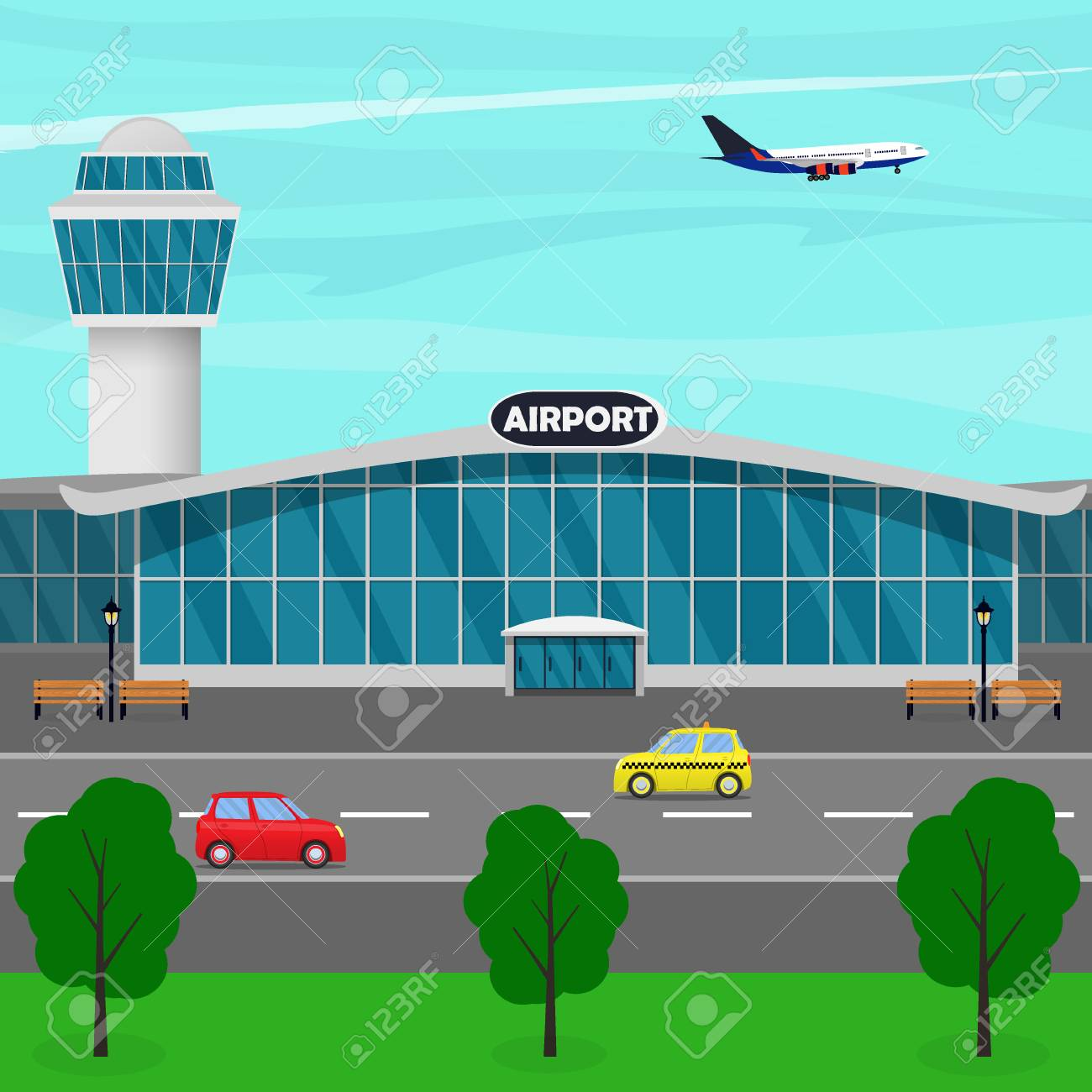 Airport terminal building, control tower, plane taking off, taxi...