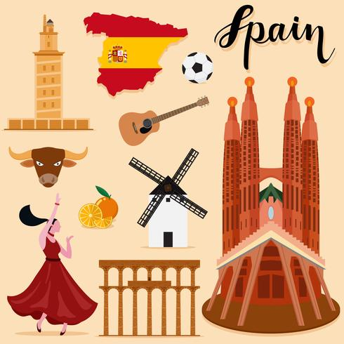 Tourist Spain Travel set collection.