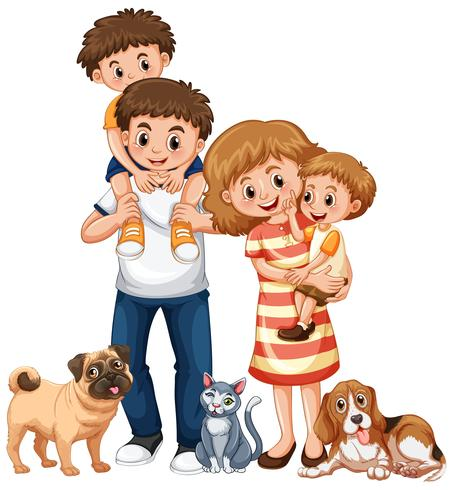 Family with two boys and pets.