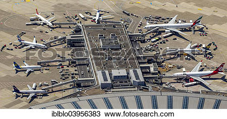 "Stock Photo of ""Aerial view, gates and gangways to the aircrafts."