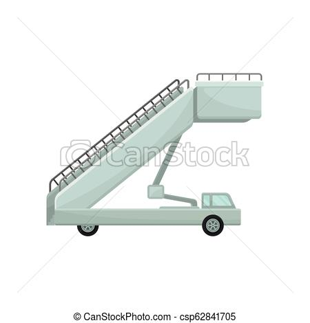 Passenger boarding stairs car. Aircraft steps. Airplane staircase. Airport  equipment theme. Flat vector design.