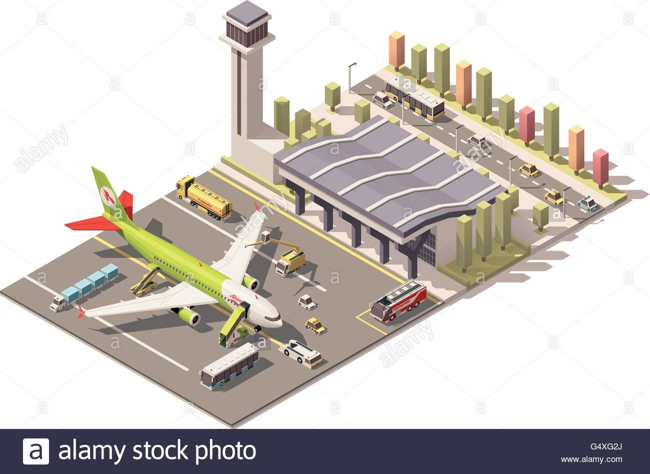 Vector Isometric Low Poly Airport Terminal Building With.