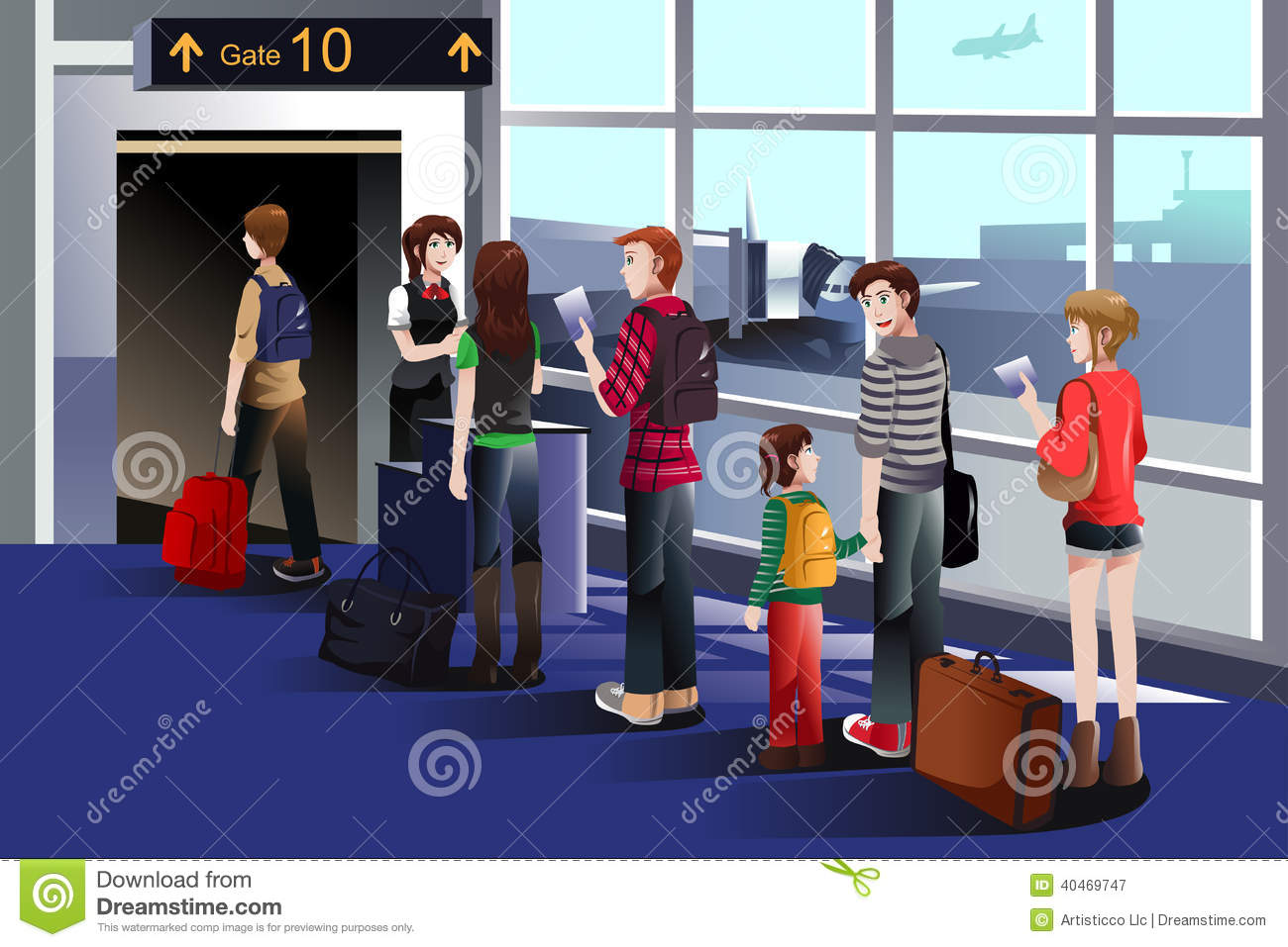 People Boarding The Airplane At The Gate Stock Vector.