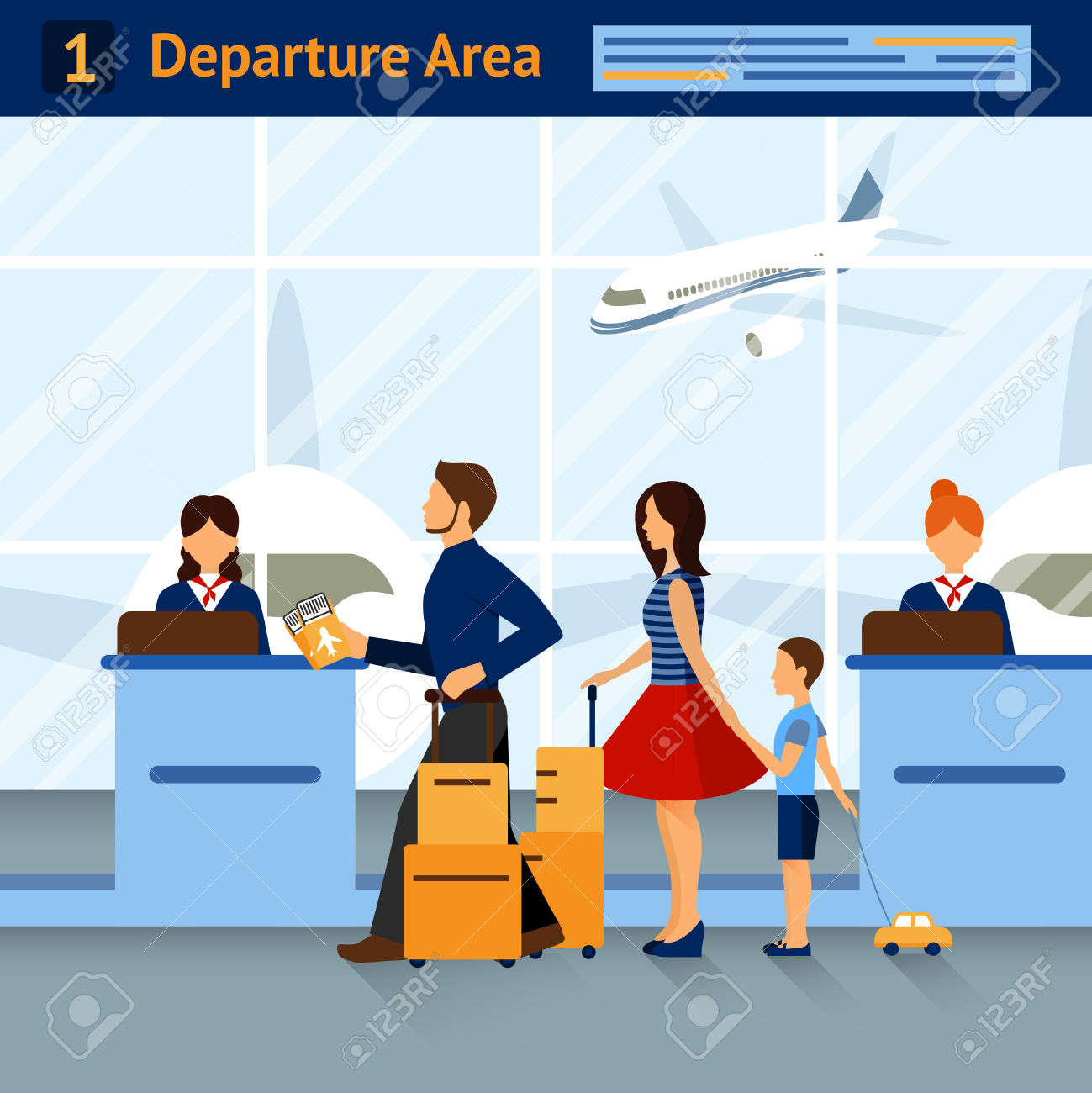 Scene In Airport Departure Area » Clipart Station.